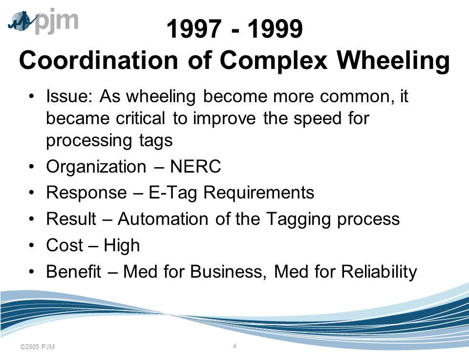 ©2005 PJM 15 Todays Responses Elimination of Seams through Technology –The growth of RTOs, ISOs, and Coordination Agreements has significantly reduced this concern –Seams are also being eliminated through local initiatives and coordination agreements –Third-Party software products have been developed that reduce the impact of seams