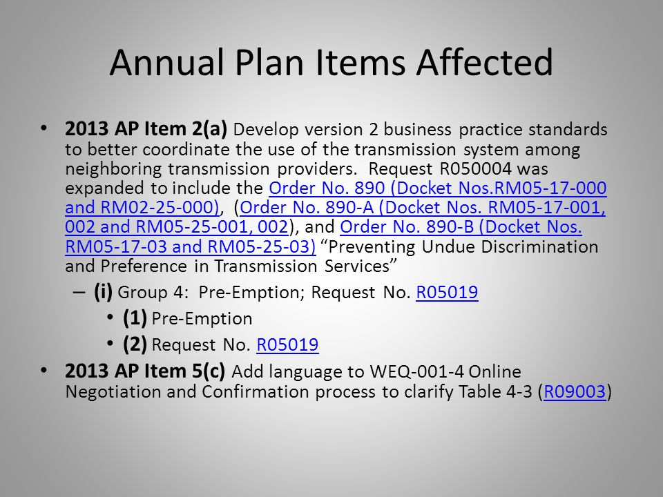 Annual Plan Items Affected 2013 AP Item 2(a) Develop version 2 business practice standards to better coordinate the use of the transmission system among neighboring transmission providers.
