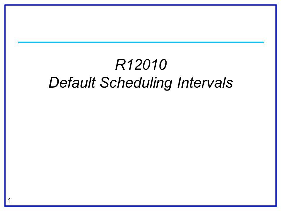 1 R12010 Default Scheduling Intervals