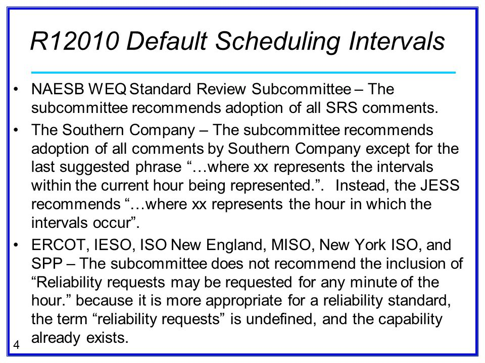 5 RECOMMENDED STANDARDS: WEQ Coordinate Interchange Business Practice Standards – WEQ-004 Default Scheduling Intervals 004-xxUnless otherwise stated in applicable Governing Documents, each BA and Transmission Service Provider shall support default transaction start and transaction stop times as follows: xx:00, xx:15, xx:30, and xx:45, where xx represents the hour in which the intervals occur.