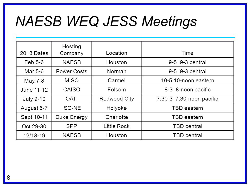 8 NAESB WEQ JESS Meetings 2013 Dates Hosting CompanyLocationTime Feb 5-6 NAESBHouston9-5 9-3 central Mar 5-6 Power CostsNorman9-5 9-3 central May 7-8