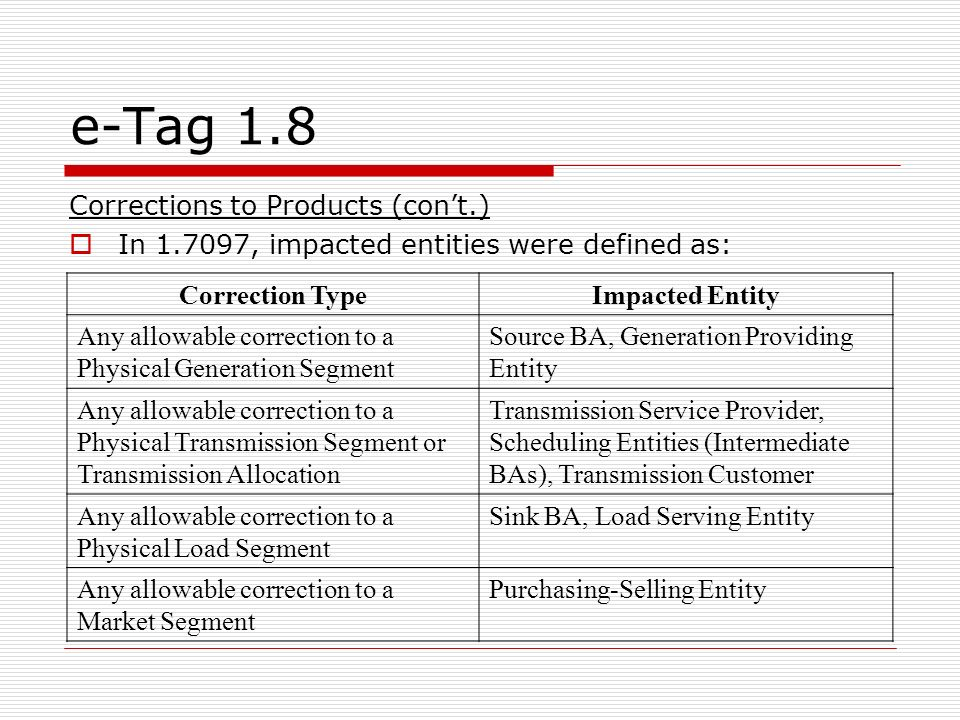 e-Tag 1.8 Corrections to Products (cont.) In 1.7097, impacted entities were defined as: Correction TypeImpacted Entity Any allowable correction to a Physical Generation Segment Source BA, Generation Providing Entity Any allowable correction to a Physical Transmission Segment or Transmission Allocation Transmission Service Provider, Scheduling Entities (Intermediate BAs), Transmission Customer Any allowable correction to a Physical Load Segment Sink BA, Load Serving Entity Any allowable correction to a Market Segment Purchasing-Selling Entity