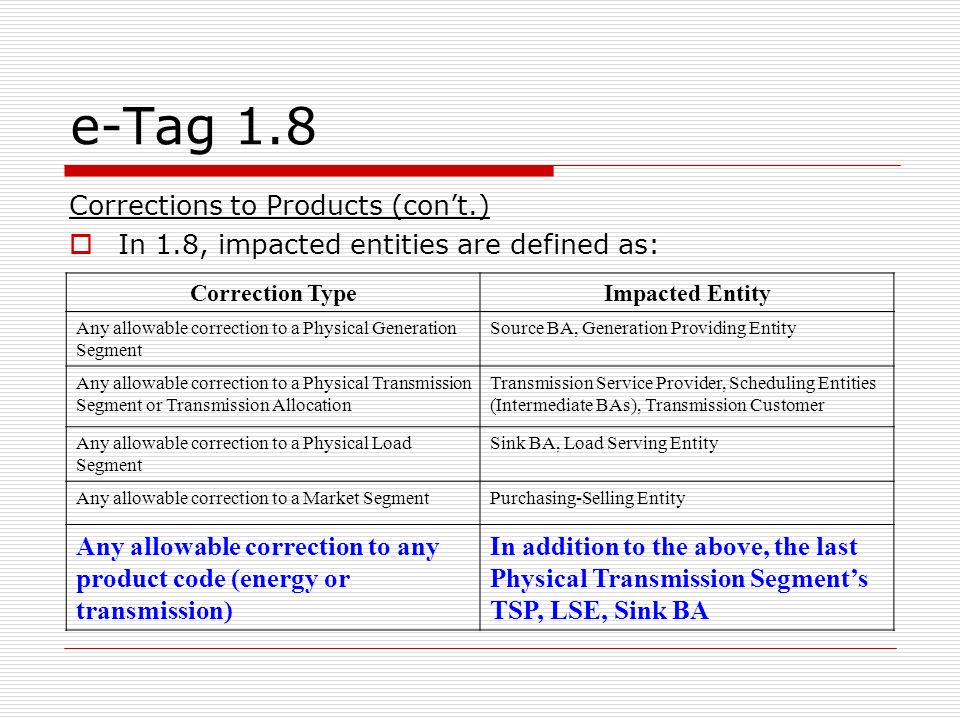 e-Tag 1.8 Corrections to Products (cont.) In 1.8, impacted entities are defined as: Correction TypeImpacted Entity Any allowable correction to a Physical Generation Segment Source BA, Generation Providing Entity Any allowable correction to a Physical Transmission Segment or Transmission Allocation Transmission Service Provider, Scheduling Entities (Intermediate BAs), Transmission Customer Any allowable correction to a Physical Load Segment Sink BA, Load Serving Entity Any allowable correction to a Market SegmentPurchasing-Selling Entity Any allowable correction to any product code (energy or transmission) In addition to the above, the last Physical Transmission Segments TSP, LSE, Sink BA