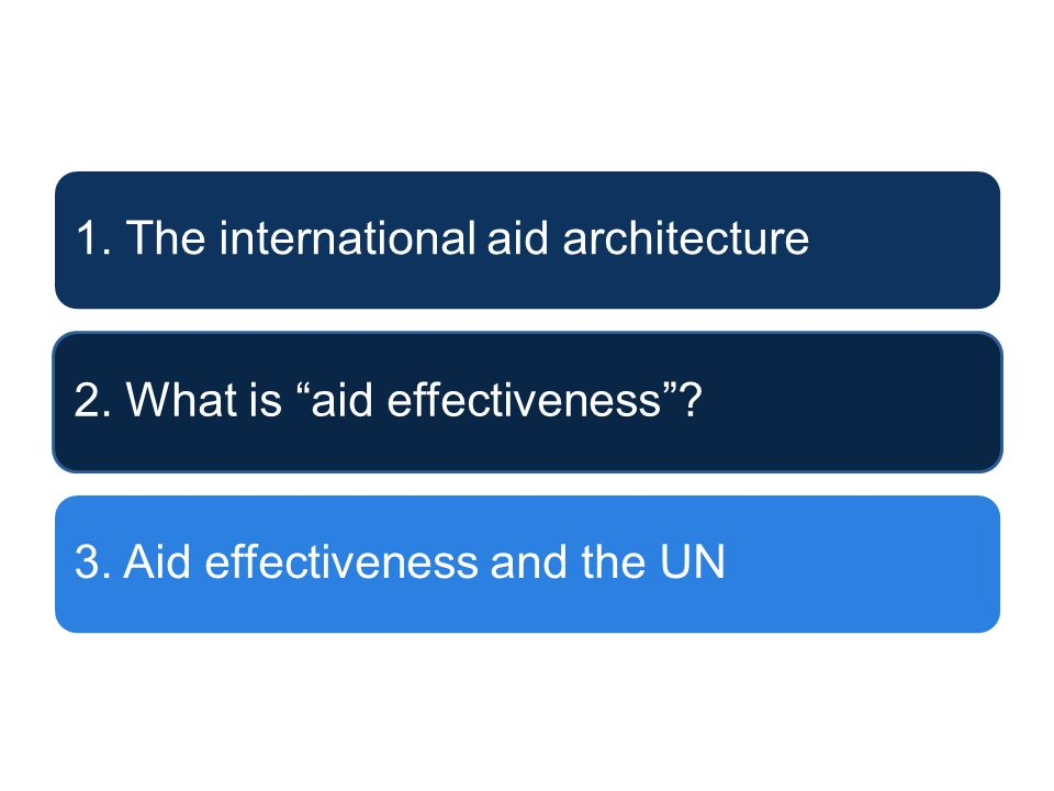 1. The international aid architecture2. What is aid effectiveness?3. Aid effectiveness and the UN