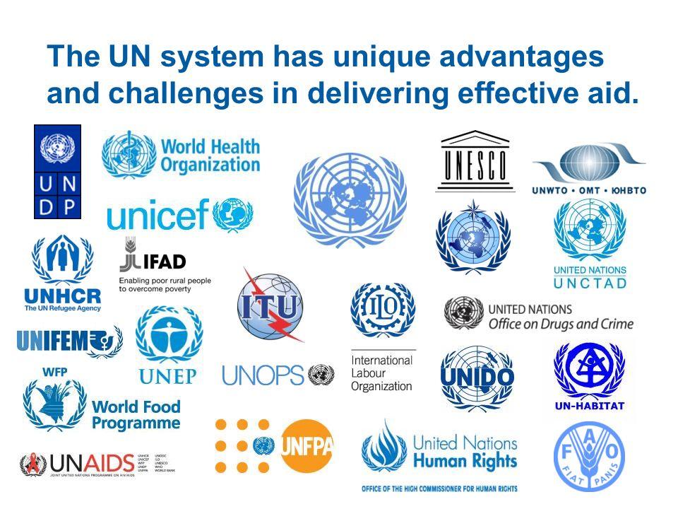 The UN system has unique advantages and challenges in delivering effective aid.