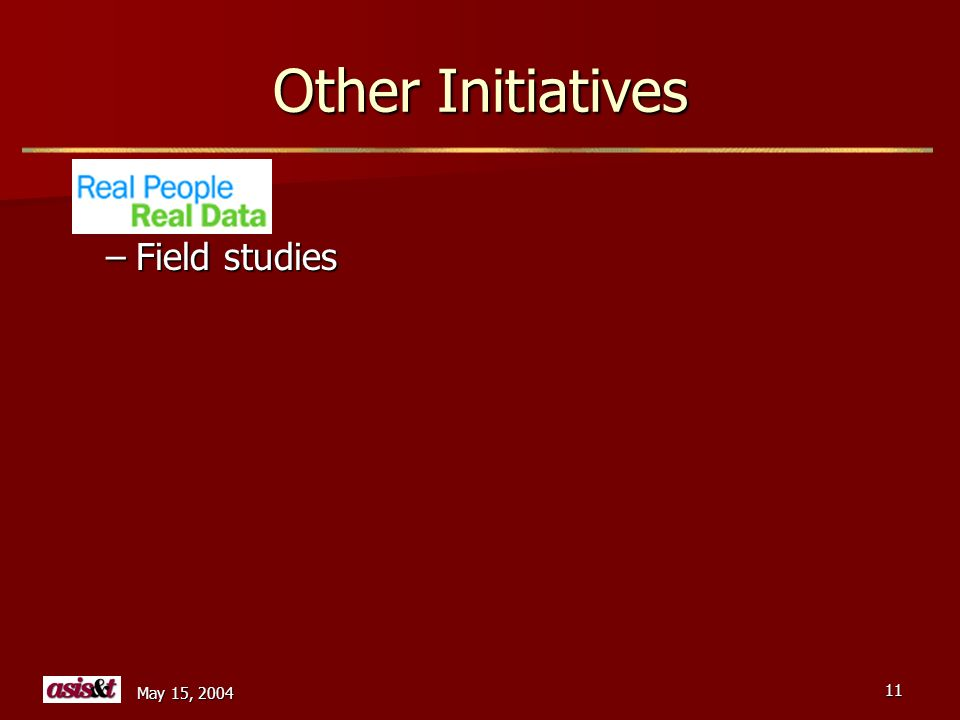 May 15, 2004 11 Other Initiatives –Field studies