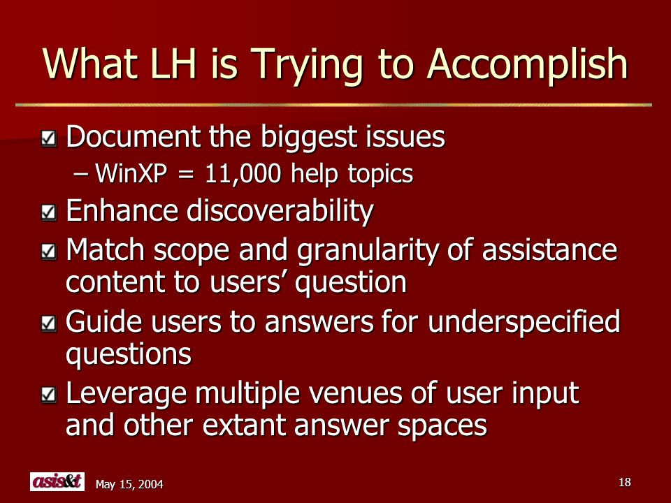 May 15, 2004 18 What LH is Trying to Accomplish Document the biggest issues –WinXP = 11,000 help topics Enhance discoverability Match scope and granularity of assistance content to users question Guide users to answers for underspecified questions Leverage multiple venues of user input and other extant answer spaces