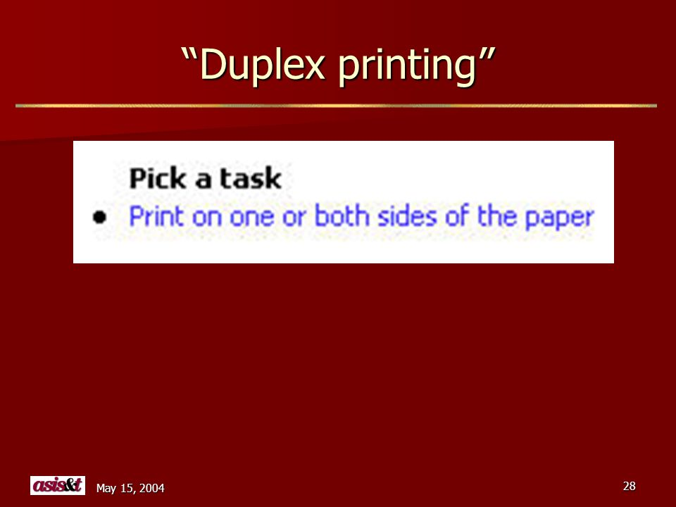 May 15, 2004 28 Duplex printing