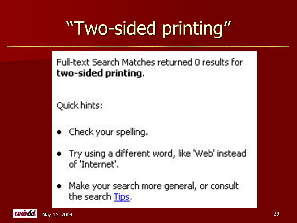 May 15, 2004 29 Two-sided printing