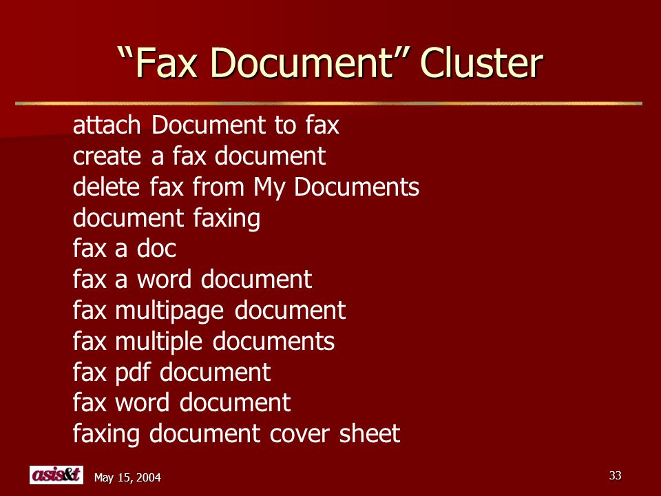 May 15, 2004 33 Fax Document Cluster attach Document to fax create a fax document delete fax from My Documents document faxing fax a doc fax a word document fax multipage document fax multiple documents fax pdf document fax word document faxing document cover sheet