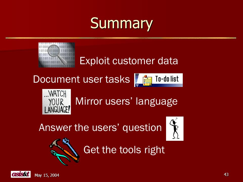 May 15, 2004 43 Summary Exploit customer data Get the tools right Answer the users question Document user tasks Mirror users language