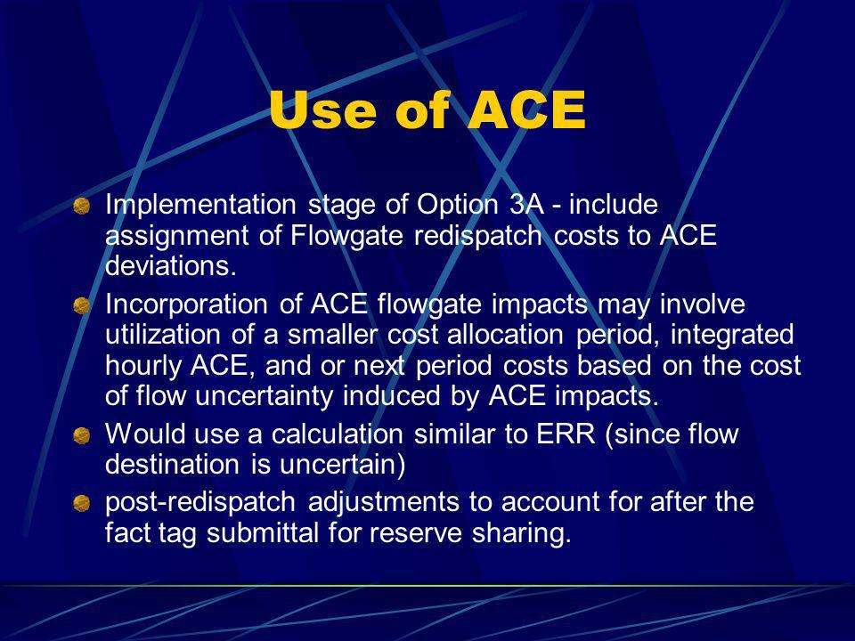 Use of ACE Implementation stage of Option 3A - include assignment of Flowgate redispatch costs to ACE deviations. Incorporation of ACE flowgate impact