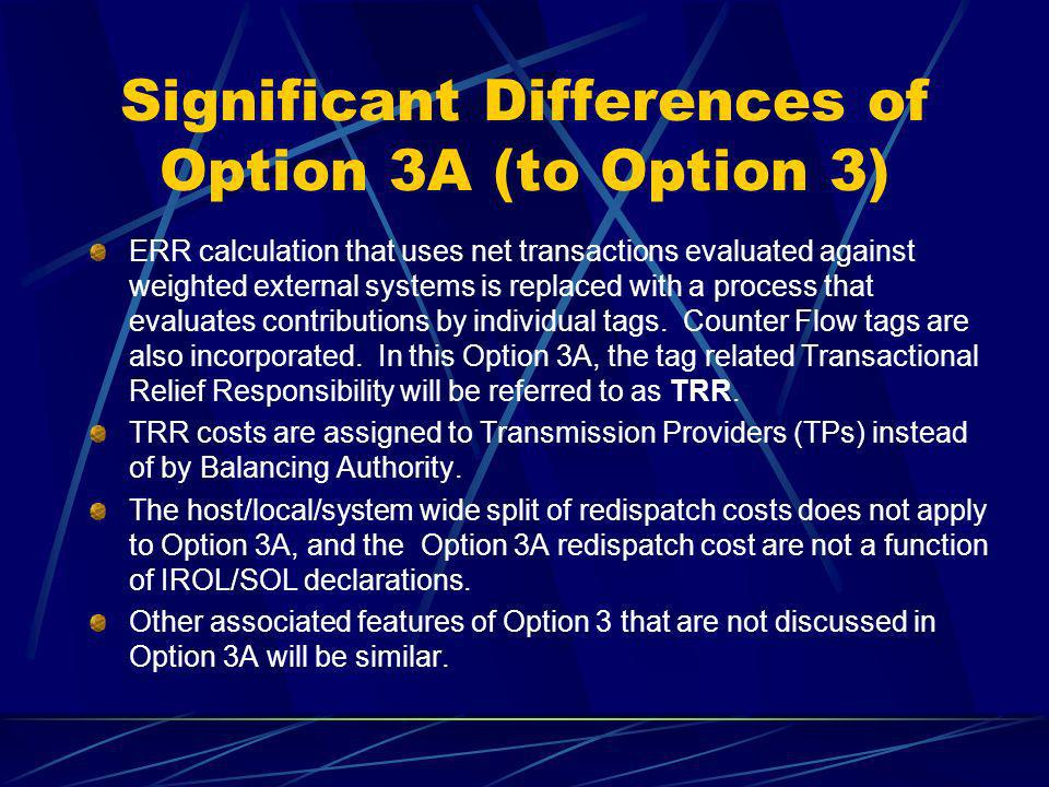 Significant Differences of Option 3A (to Option 3) ERR calculation that uses net transactions evaluated against weighted external systems is replaced