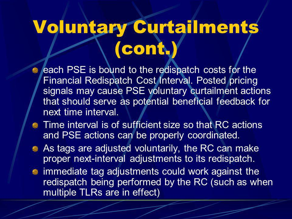 Voluntary Curtailments (cont.) each PSE is bound to the redispatch costs for the Financial Redispatch Cost Interval.