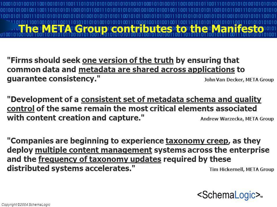 Copyright ©2004 SchemaLogic The META Group contributes to the Manifesto Firms should seek one version of the truth by ensuring that common data and metadata are shared across applications to guarantee consistency. John Van Decker, META Group Development of a consistent set of metadata schema and quality control of the same remain the most critical elements associated with content creation and capture. Andrew Warzecka, META Group Companies are beginning to experience taxonomy creep, as they deploy multiple content management systems across the enterprise and the frequency of taxonomy updates required by these distributed systems accelerates. Tim Hickernell, META Group