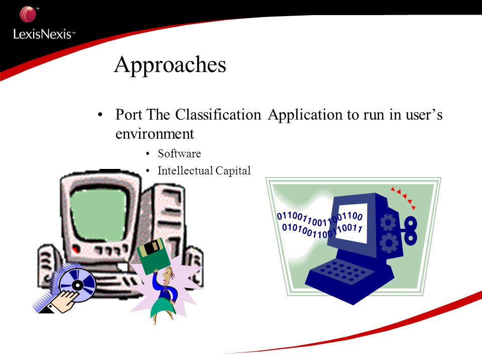 Approaches Port The Classification Application to run in users environment Software Intellectual Capital