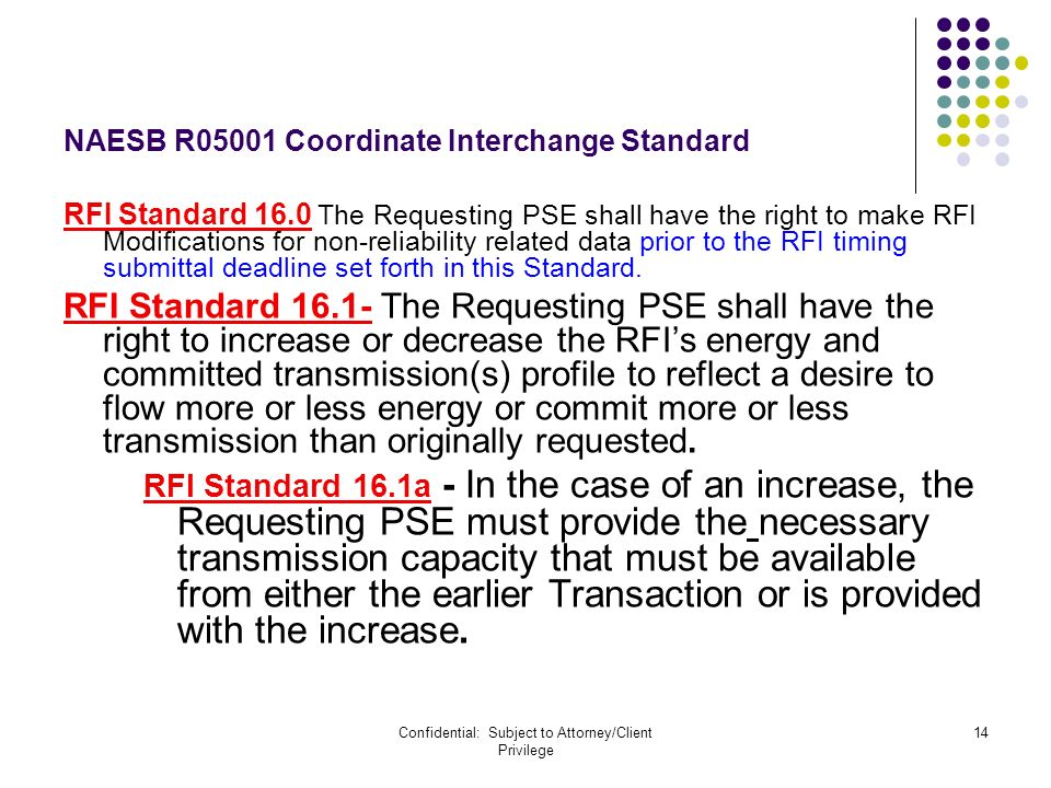 Confidential: Subject to Attorney/Client Privilege 14 NAESB R05001 Coordinate Interchange Standard RFI Standard 16.0 The Requesting PSE shall have the