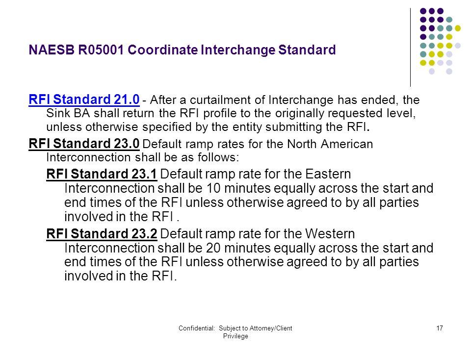 Confidential: Subject to Attorney/Client Privilege 17 NAESB R05001 Coordinate Interchange Standard RFI Standard 21.0 - After a curtailment of Intercha