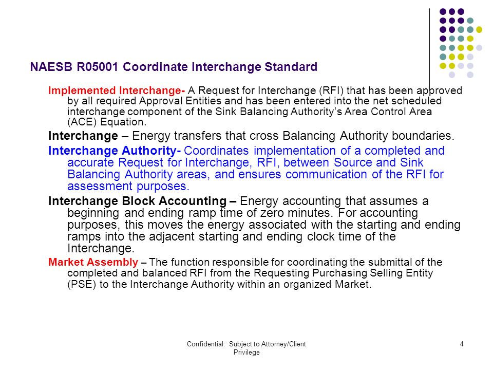 Confidential: Subject to Attorney/Client Privilege 4 NAESB R05001 Coordinate Interchange Standard Implemented Interchange- A Request for Interchange (