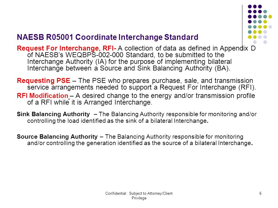 Confidential: Subject to Attorney/Client Privilege 6 NAESB R05001 Coordinate Interchange Standard Request For Interchange, RFI- A collection of data a