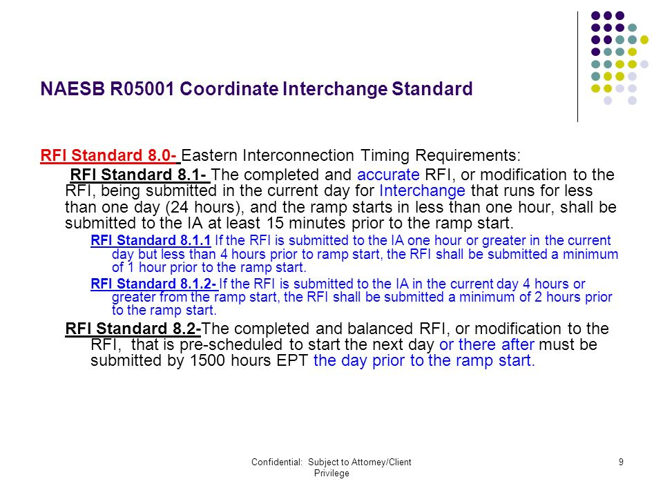 Confidential: Subject to Attorney/Client Privilege 9 NAESB R05001 Coordinate Interchange Standard RFI Standard 8.0- Eastern Interconnection Timing Requirements: RFI Standard 8.1- The completed and accurate RFI, or modification to the RFI, being submitted in the current day for Interchange that runs for less than one day (24 hours), and the ramp starts in less than one hour, shall be submitted to the IA at least 15 minutes prior to the ramp start.