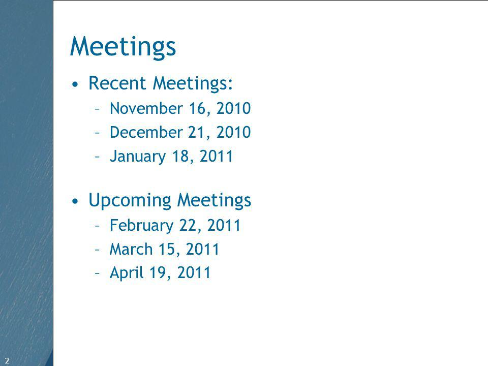 2 Free Template from   2 Meetings Recent Meetings: –November 16, 2010 –December 21, 2010 –January 18, 2011 Upcoming Meetings –February 22, 2011 –March 15, 2011 –April 19, 2011