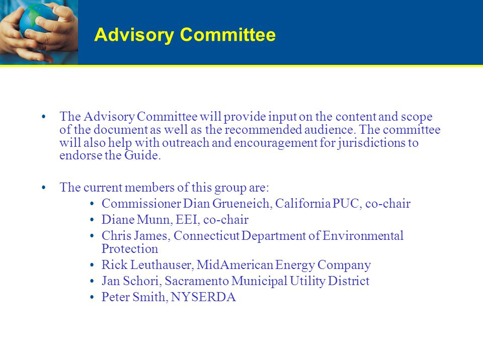 Advisory Committee The Advisory Committee will provide input on the content and scope of the document as well as the recommended audience. The committ