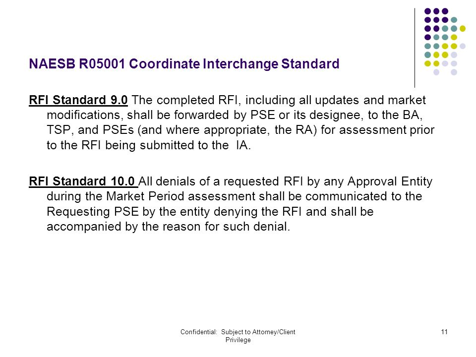 Confidential: Subject to Attorney/Client Privilege 11 NAESB R05001 Coordinate Interchange Standard RFI Standard 9.0 The completed RFI, including all u