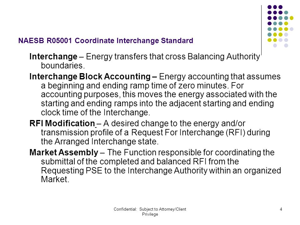 Confidential: Subject to Attorney/Client Privilege 4 NAESB R05001 Coordinate Interchange Standard Interchange – Energy transfers that cross Balancing