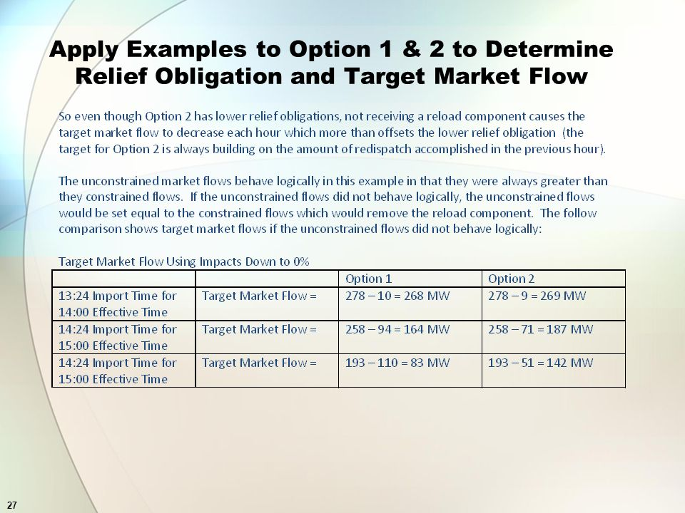 27 Apply Examples to Option 1 & 2 to Determine Relief Obligation and Target Market Flow
