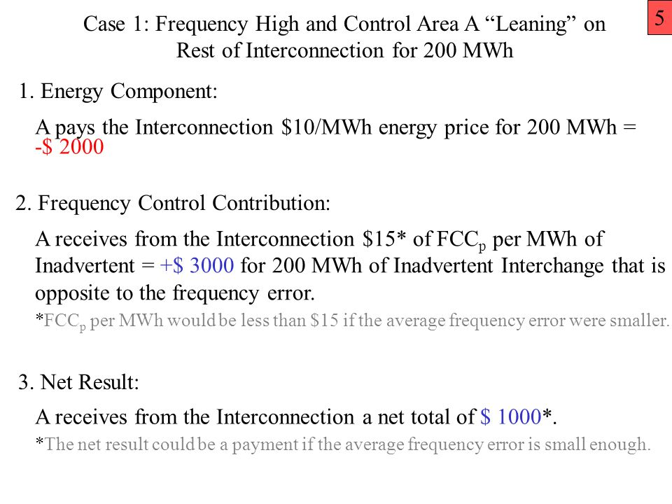 Case 1: Frequency High and Control Area A Leaning on Rest of Interconnection for 200 MWh A pays the Interconnection $10/MWh energy price for 200 MWh = -$ 2000 A receives from the Interconnection $15* of FCC p per MWh of Inadvertent = +$ 3000 for 200 MWh of Inadvertent Interchange that is opposite to the frequency error.
