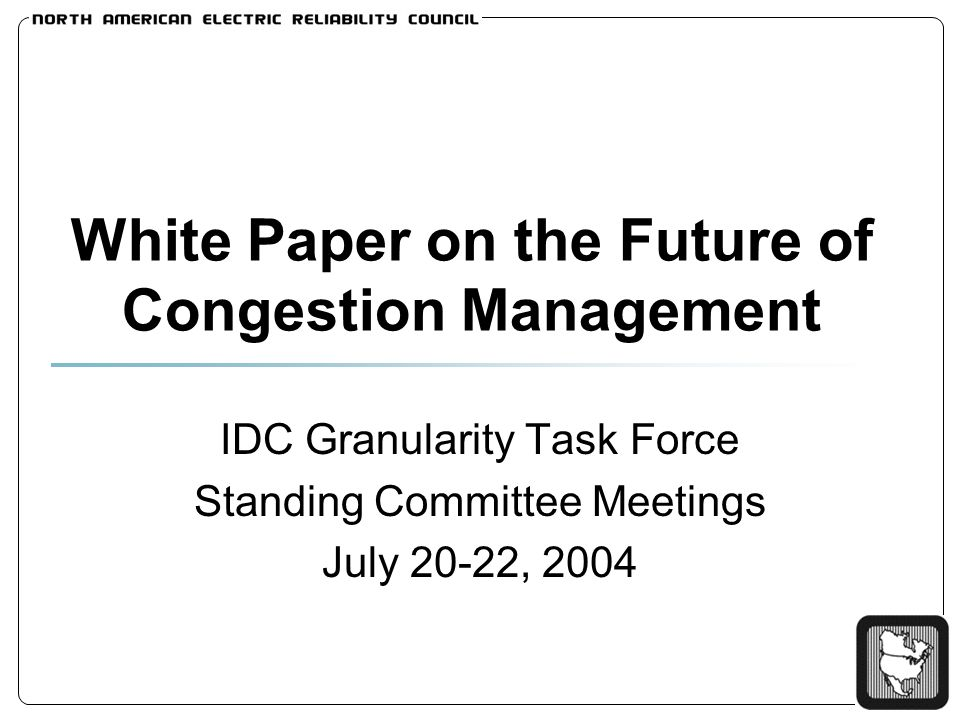 White Paper on the Future of Congestion Management IDC Granularity Task Force Standing Committee Meetings July 20-22, 2004