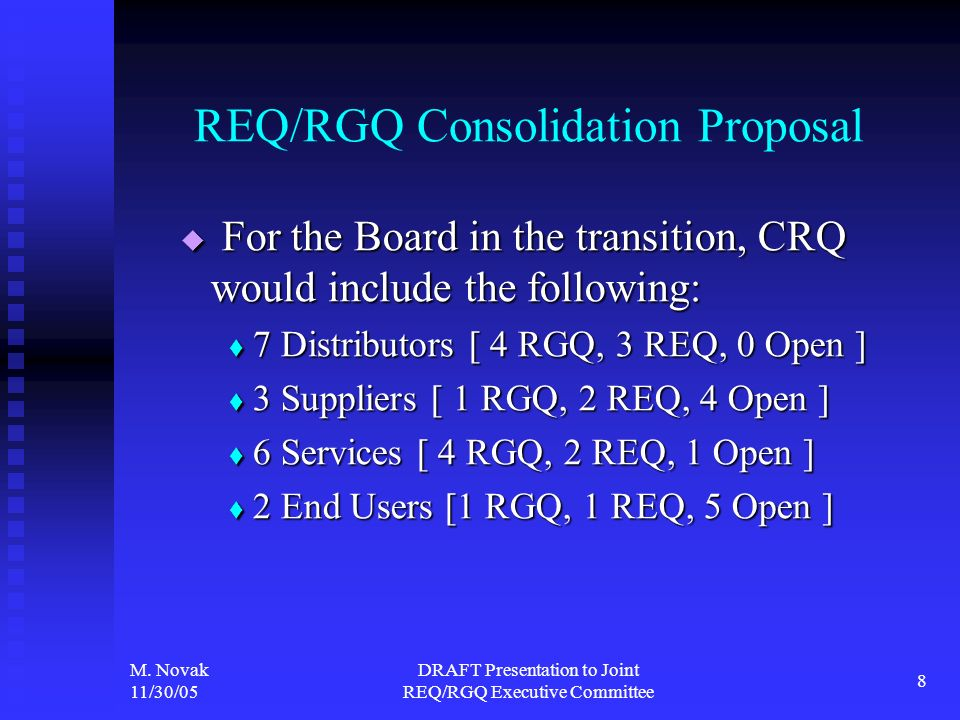 M. Novak 11/30/05 DRAFT Presentation to Joint REQ/RGQ Executive Committee 8 REQ/RGQ Consolidation Proposal For the Board in the transition, CRQ would
