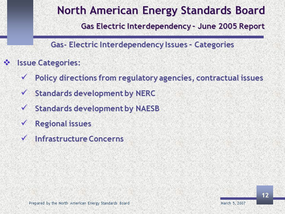 March 5, 2007 Prepared by the North American Energy Standards Board 12 North American Energy Standards Board Gas Electric Interdependency – June 2005 Report Gas- Electric Interdependency Issues – Categories Issue Categories: Issue Categories: Policy directions from regulatory agencies, contractual issues Policy directions from regulatory agencies, contractual issues Standards development by NERC Standards development by NERC Standards development by NAESB Standards development by NAESB Regional issues Regional issues Infrastructure Concerns Infrastructure Concerns