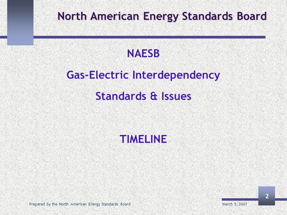 March 5, 2007 Prepared by the North American Energy Standards Board 2 North American Energy Standards Board NAESB Gas-Electric Interdependency Standards & Issues TIMELINE