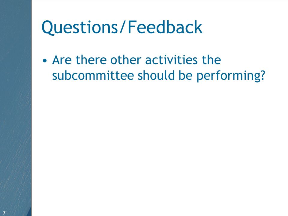 7 Free Template from www.brainybetty.com 7 Questions/Feedback Are there other activities the subcommittee should be performing