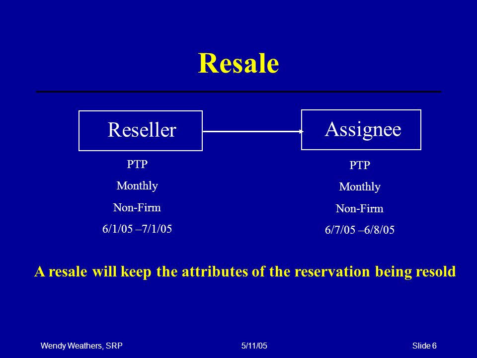 Wendy Weathers, SRP5/11/05Slide 6 Resale ResellerAssignee PTP Monthly Non-Firm 6/1/05 –7/1/05 A resale will keep the attributes of the reservation being resold PTP Monthly Non-Firm 6/7/05 –6/8/05