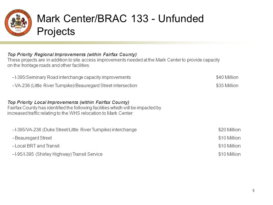 8 Mark Center/BRAC 133 - Unfunded Projects Top Priority Regional Improvements (within Fairfax County): These projects are in addition to site access improvements needed at the Mark Center to provide capacity on the frontage roads and other facilities: - I-395/Seminary Road interchange capacity improvements $40 Million - VA-236 (Little River Turnpike)/Beauregard Street intersection $35 Million Top Priority Local Improvements (within Fairfax County) Fairfax County has identified the following facilities which will be impacted by increased traffic relating to the WHS relocation to Mark Center: - I-395/VA-236 (Duke Street/Little River Turnpike) interchange $20 Million - Beauregard Street $10 Million - Local BRT and Transit $10 Million - I-95/I-395 (Shirley Highway) Transit Service $10 Million