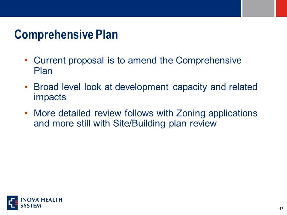 13 Comprehensive Plan Current proposal is to amend the Comprehensive Plan Broad level look at development capacity and related impacts More detailed review follows with Zoning applications and more still with Site/Building plan review