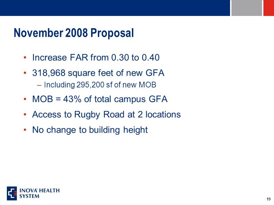 19 November 2008 Proposal Increase FAR from 0.30 to 0.40 318,968 square feet of new GFA –Including 295,200 sf of new MOB MOB = 43% of total campus GFA Access to Rugby Road at 2 locations No change to building height
