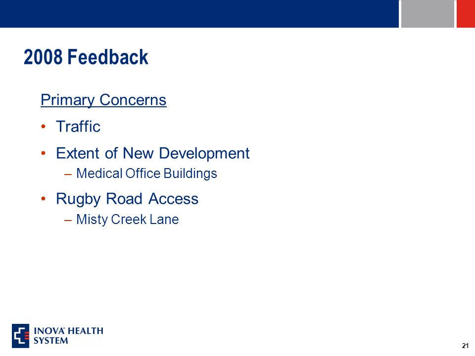 21 2008 Feedback Primary Concerns Traffic Extent of New Development –Medical Office Buildings Rugby Road Access –Misty Creek Lane