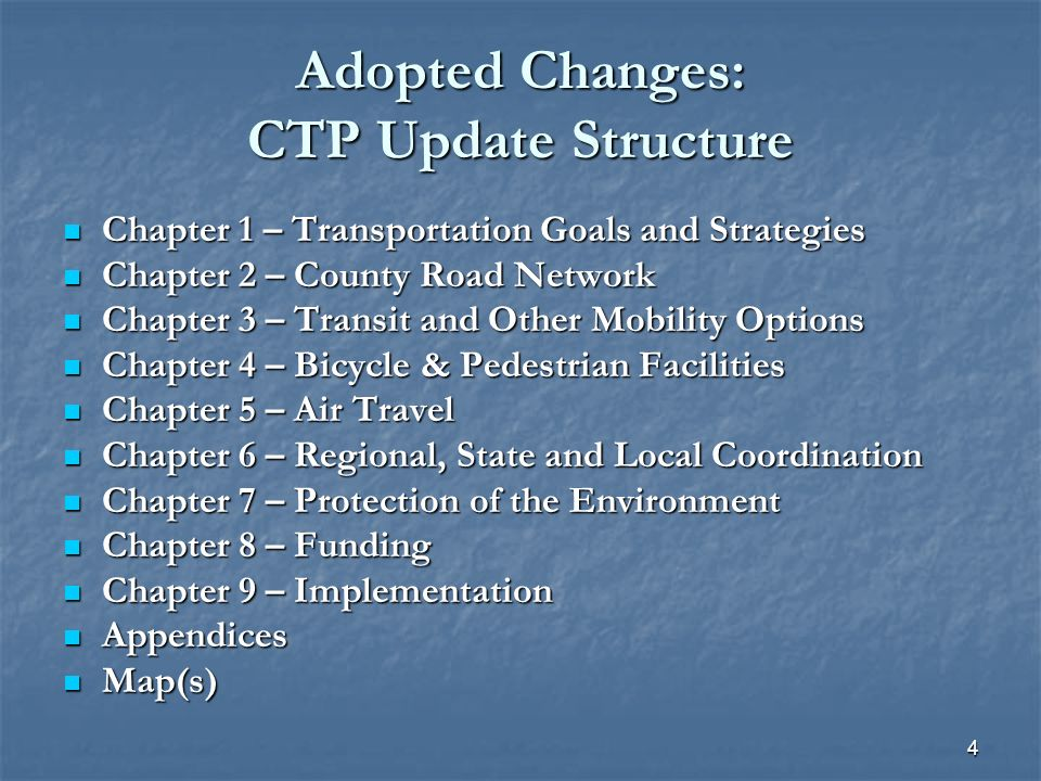 15 Chapter 4/Appendix 6: Bicycle & Pedestrian Facilities Separates bicycle and pedestrian facilities component into a stand-alone chapter Separates bicycle and pedestrian facilities component into a stand-alone chapter Ties together the CTP with the 2003 Loudoun County Bicycle and Pedestrian Mobility Master Plan (LCBPMMP) Ties together the CTP with the 2003 Loudoun County Bicycle and Pedestrian Mobility Master Plan (LCBPMMP) Guidelines for provision of bicycle/pedestrian facilities on CTP roads are as follows: Guidelines for provision of bicycle/pedestrian facilities on CTP roads are as follows: Six and Eight Lane Roads – Two 10-foot wide shared use paths, one on each side of the roadway; for limited access facilities, bicycle/pedestrian facilities are provided along parallel roadways Six and Eight Lane Roads – Two 10-foot wide shared use paths, one on each side of the roadway; for limited access facilities, bicycle/pedestrian facilities are provided along parallel roadways Four Lane Roads – One 10-foot shared use path and one 6- foot sidewalk, one on each side of the roadway; inclusion of bike lanes where feasible Four Lane Roads – One 10-foot shared use path and one 6- foot sidewalk, one on each side of the roadway; inclusion of bike lanes where feasible Two Lane Roads – Two 6-foot sidewalks, one on each side of the roadway; inclusion of bike lanes where feasible Two Lane Roads – Two 6-foot sidewalks, one on each side of the roadway; inclusion of bike lanes where feasible
