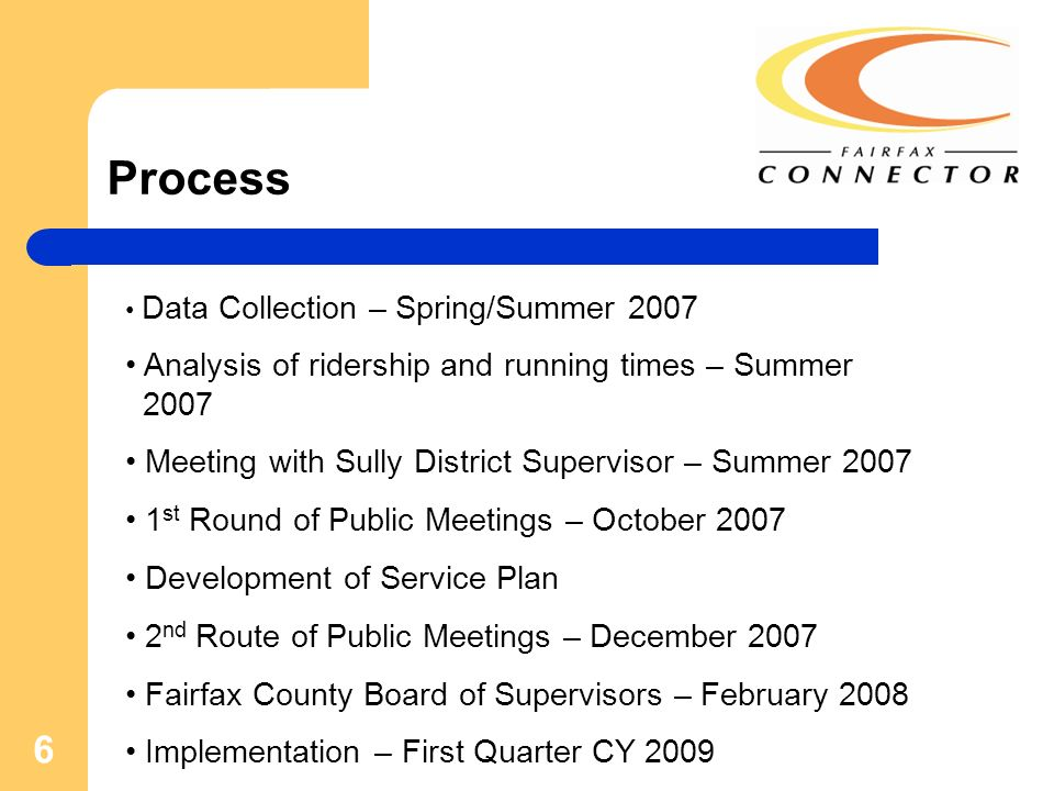 6 Process Data Collection – Spring/Summer 2007 Analysis of ridership and running times – Summer 2007 Meeting with Sully District Supervisor – Summer 2