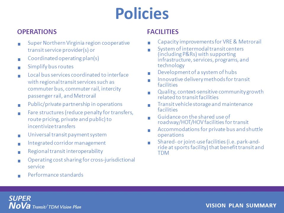VISION PLAN SUMMARY Policies OPERATIONS Super Northern Virginia region cooperative transit service provider(s) or Coordinated operating plan(s) Simplify bus routes Local bus services coordinated to interface with regional transit services such as commuter bus, commuter rail, intercity passenger rail, and Metrorail Public/private partnership in operations Fare structures (reduce penalty for transfers, route pricing, private and public) to incentivize transfers Universal transit payment system Integrated corridor management Regional transit interoperability Operating cost sharing for cross-jurisdictional service Performance standards FACILITIES Capacity improvements for VRE & Metrorail System of intermodal transit centers (including P&Rs) with supporting infrastructure, services, programs, and technology Development of a system of hubs Innovative delivery methods for transit facilities Quality, context-sensitive community growth related to transit facilities Transit vehicle storage and maintenance facilities Guidance on the shared use of roadway/HOT/HOV facilities for transit Accommodations for private bus and shuttle operations Shared- or joint-use facilities (i.e.
