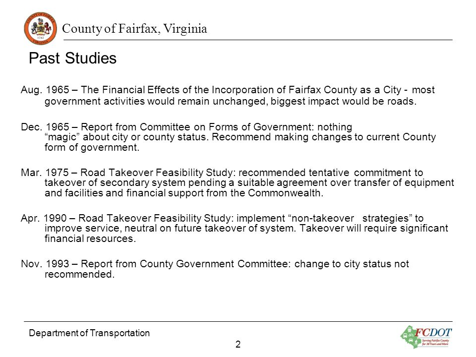 County of Fairfax, Virginia Department of Transportation 2 Past Studies Aug.
