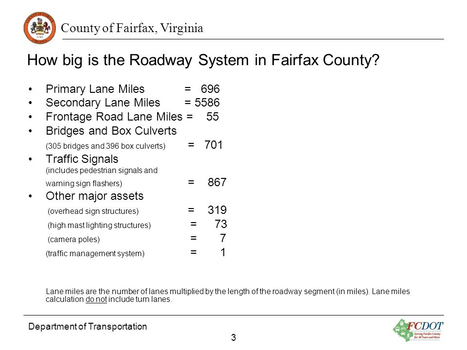 County of Fairfax, Virginia Department of Transportation 3 How big is the Roadway System in Fairfax County.