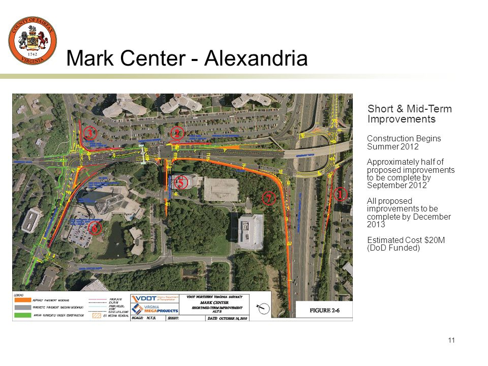 11 Mark Center - Alexandria Short & Mid-Term Improvements Construction Begins Summer 2012 Approximately half of proposed improvements to be complete by September 2012 All proposed improvements to be complete by December 2013 Estimated Cost $20M (DoD Funded)