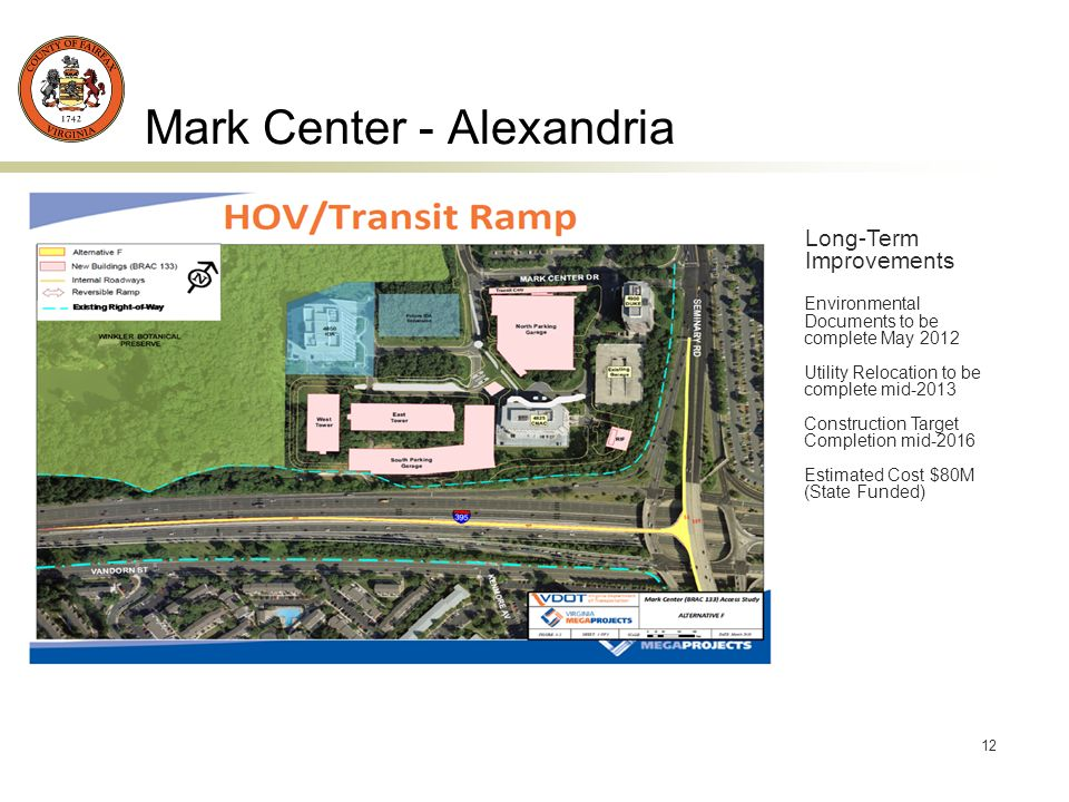 12 Mark Center - Alexandria Long-Term Improvements Environmental Documents to be complete May 2012 Utility Relocation to be complete mid-2013 Construction Target Completion mid-2016 Estimated Cost $80M (State Funded)