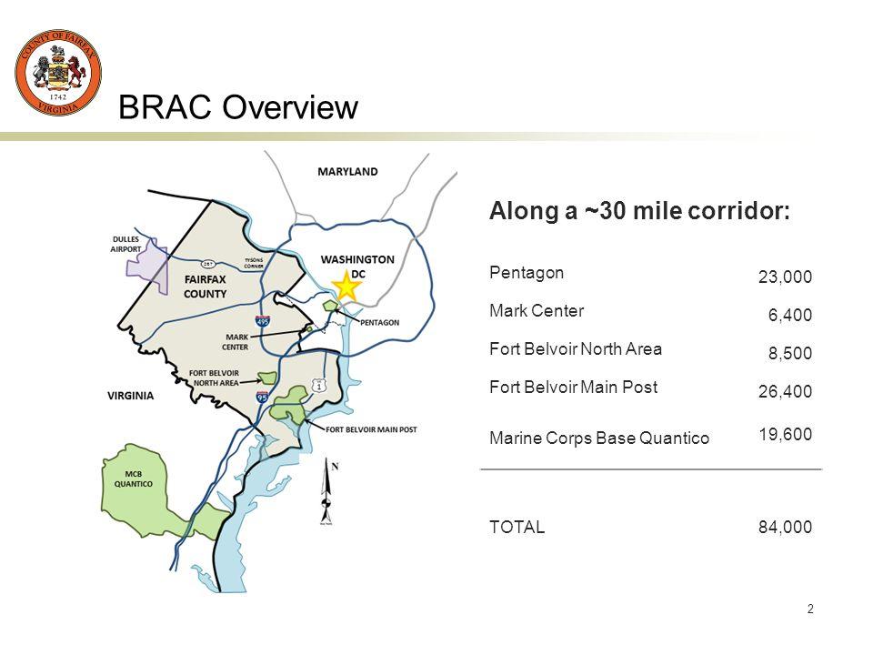 2 BRAC Overview Along a ~30 mile corridor: Pentagon 23,000 Mark Center 6,400 Fort Belvoir North Area 8,500 Fort Belvoir Main Post 26,400 Marine Corps Base Quantico 19,600 TOTAL84,000