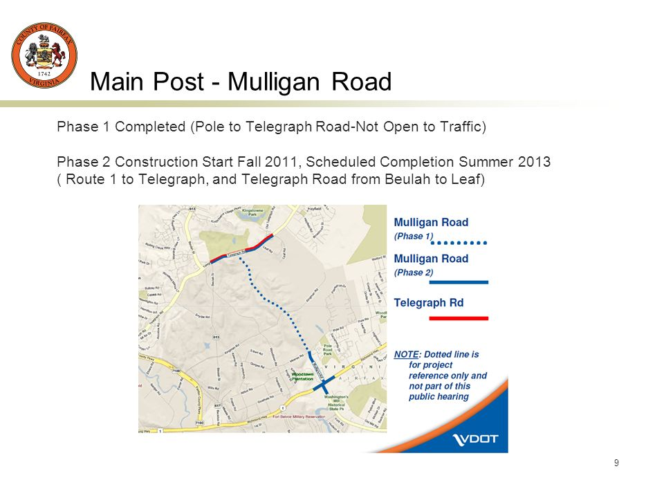 9 Main Post - Mulligan Road Phase 1 Completed (Pole to Telegraph Road-Not Open to Traffic) Phase 2 Construction Start Fall 2011, Scheduled Completion Summer 2013 ( Route 1 to Telegraph, and Telegraph Road from Beulah to Leaf)